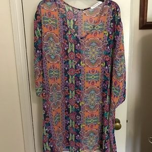 Pink envelope sheer colorful beach cover up.